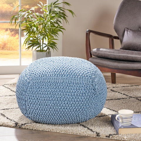 Knitted Cotton Square Pouf - NH887403