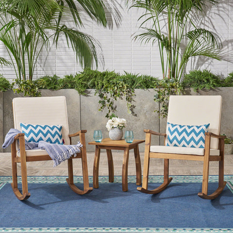 Outdoor Acacia Wood Rocking Chair and Table Set - NH617403
