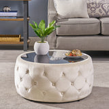 Glam Velvet and Tempered Glass Coffee Table Ottoman - NH197403