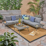 Outdoor Wood and Aluminum V-Shaped 5 Seater Sofa Set - NH321503