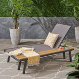 Outdoor Mesh and Aluminum Chaise Lounge with Side Table - NH541503