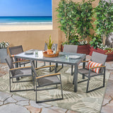 Outdoor 7-Piece Aluminum Dining Set with Glass Table Top - NH386503