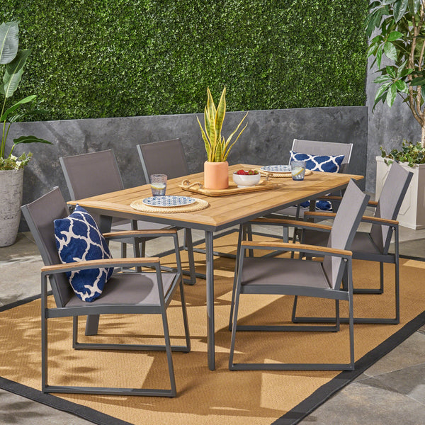 Outdoor 7 Piece Aluminum Dining Set with Mesh Chairs - NH991503