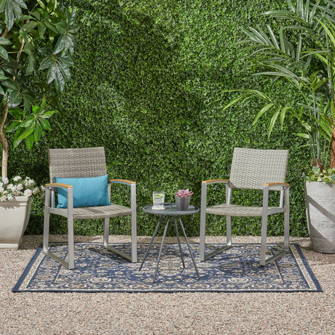 Outdoor 2 Seater Aluminum and Wicker Chat Set - NH755903