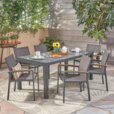 Outdoor Aluminum and Mesh 7 Piece Dining Set with Glass Table Top - NH586503