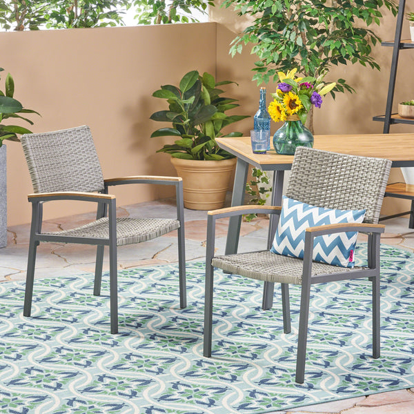 Outdoor Wicker Dining Chair with Aluminum Frame (Set of 2) - NH313503