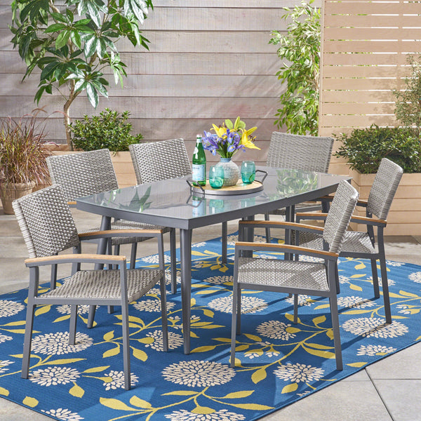 Outdoor 7 Piece Aluminum and Mesh Dining Set with Glass Top - NH004503