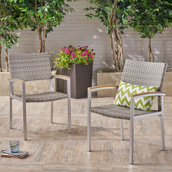 Outdoor Wicker Dining Chair with Aluminum Frame (Set of 2), Gray and Silver - NH576503