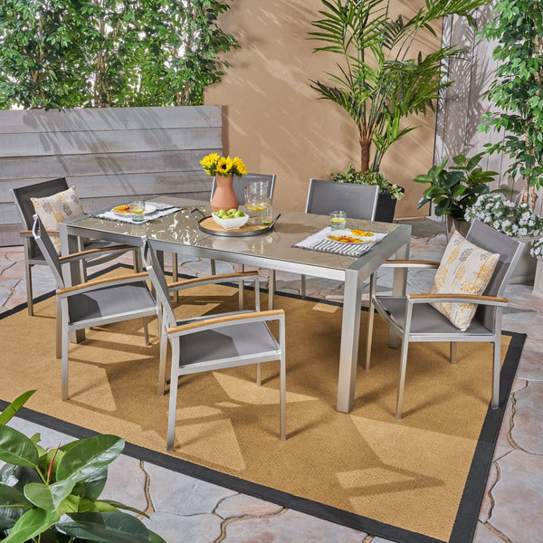 Outdoor Aluminum and Mesh 7 Piece Dining Set with Glass Table Top - NH986503