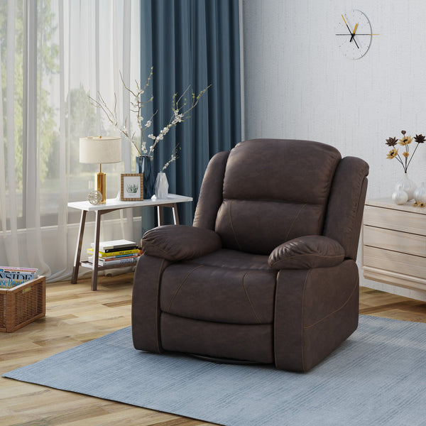 Classic Tufted Leather Swivel Recliner, Dark Brown - NH665403