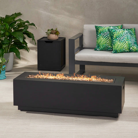 Outdoor Dark Gray Iron Rectangular Propane Fire Pit - 50,000 BTU - NH710403