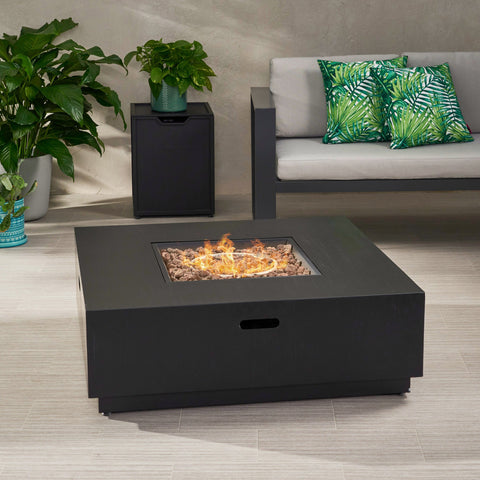 Outdoor Dark Gray Finish Iron 40 Inch Square Fire Pit - 50,000 BTU - NH610403