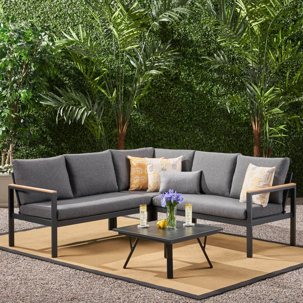 Outdoor Aluminum V-Shaped Sofa Set with Faux Wood Accents, Gray Finish and Gray - NH503903