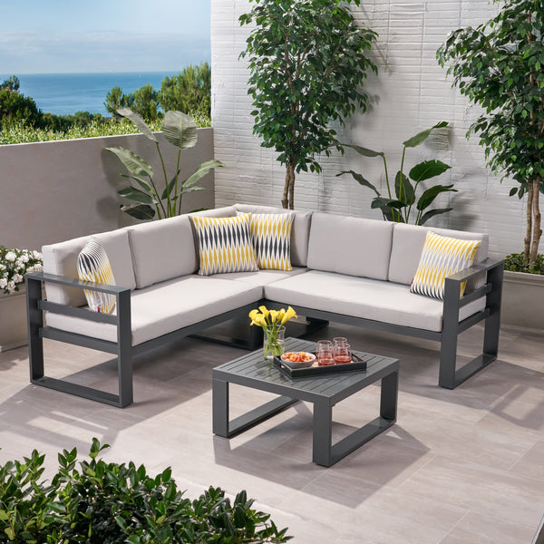 Outdoor Aluminum Sofa Sectional with Coffee Table - NH122013