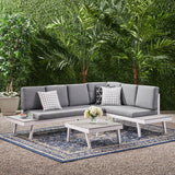 Outdoor Aluminum Sofa Sectional with Faux Wood Accents, White and Gray - NH343903