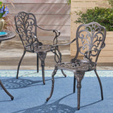 Outdoor Cast Aluminum Dining Chair (Set of 2), Shiny Copper - NH423503