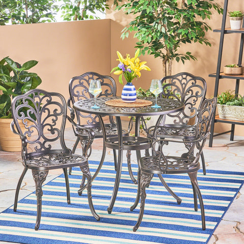 Outdoor 5 Piece Cast Aluminum Dining Set, Shiny Copper - NH614503