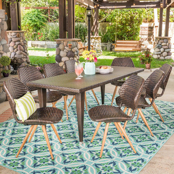 Outdoor 7 Piece Wicker Dining Set, Multibrown - NH147403