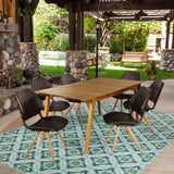 Outdoor 7 Piece Acacia Wood and Wicker Dining Set, Teak and Multibrown - NH247403