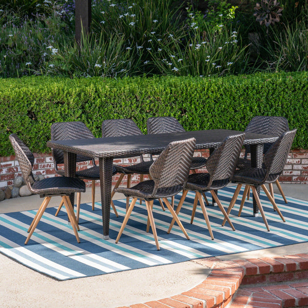 Outdoor 9 Piece Wicker Dining Set, Multibrown - NH047403