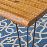 Outdoor Rustic Industrial Acacia Wood Dining Table with Metal Hairpin Legs, Teak - NH073503