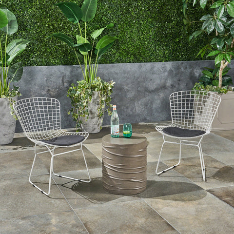 Outdoor 3 Piece Iron and Light Weight Concrete Chat Set, Black and Light Gray - NH221503