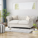 Traditional Chesterfield Fabric Loveseat Sofa - NH420603