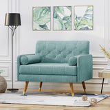 Mid Century Modern Button Tufted Fabric Club Chair w/ Rolled Accent Pillows - NH248503