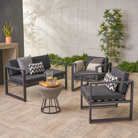 Outdoor 4 Seater Aluminum Chat Set, Silver with Dark Grey Cushions - NH976403