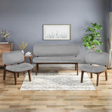 Mid-Century Modern 3-Piece Chairs & Love Seat Living Room Set - NH291903