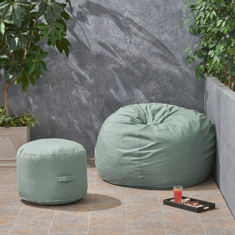 Outdoor Water Resistant 4.5 Bean Bag and 2 Ottoman Pouf Set - NH510803