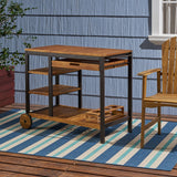 Outdoor Acacia Wood Bar Cart with Reversible Drawers and Wine Bottle Holders - NH658803