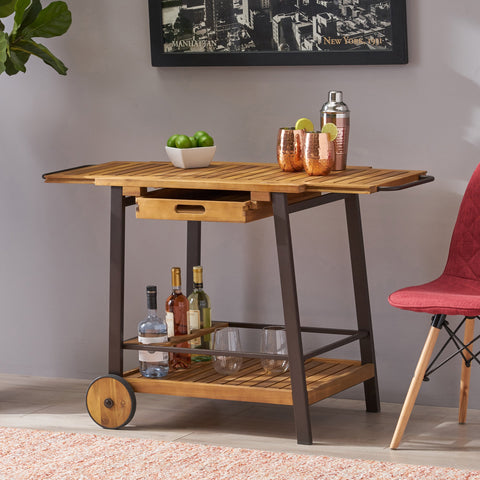 Indoor Acacia Wood Bar Cart with Reversible Drawers Adjustable Tray Top and Wine Bottle Holders - NH758803