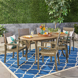 Outdoor 6-Seater Oval Acacia Wood Dining Set - NH394603