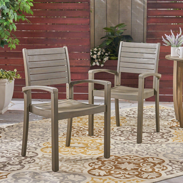 Outdoor Acacia Wood Dining Chairs (set of 2) - NH234603