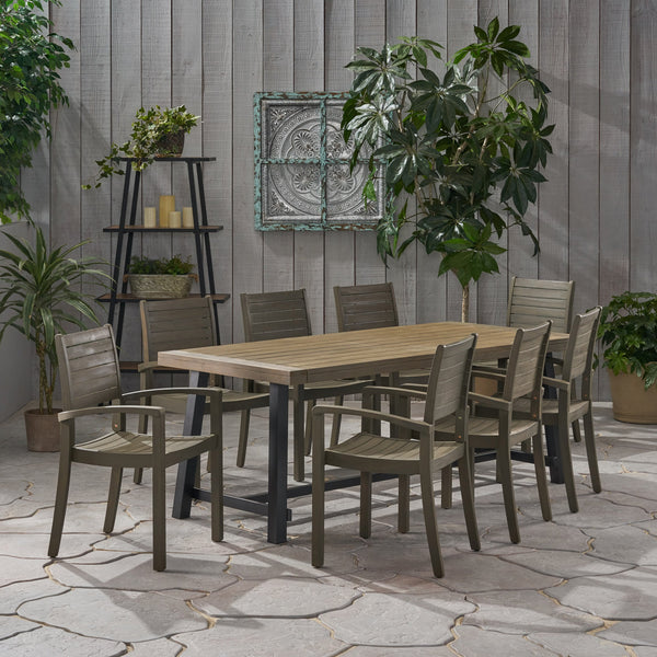 Outdoor Acacia Wood 8 Seater Dining Set - NH146903