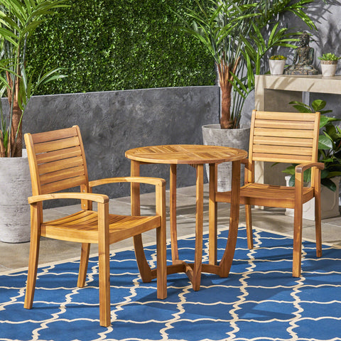 Outdoor 2-Seater Acacia Wood Bistro Set - NH484603