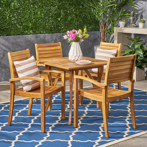 Outdoor 4-Seater Square Acacia Wood Dining Set - NH584603