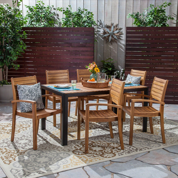 Outdoor 6-Seater Rectangular Acacia Wood Dining Set, Teak and Black - NH903603