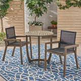 Outdoor Acacia Wood 3 Piece Dining Set with Mesh Seats - NH759603