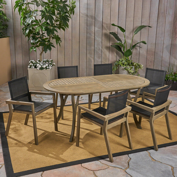 Outdoor Acacia Wood 6 Seater Patio Dining Set with Mesh Seats - NH359603