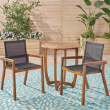 Outdoor Acacia Wood 3 Piece Dining Set with Mesh Seats - NH259603
