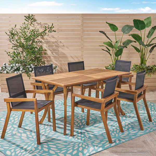 Outdoor Acacia Wood 7 Piece Dining Set with Mesh Seats - NH949603