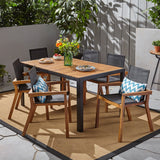 Outdoor 6-Seater Rectangular Acacia Wood and Mesh Dining Set - NH013603