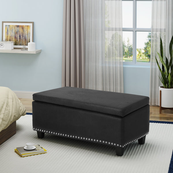 Rectangle Microfiber Storage Ottoman Bench - NH679403
