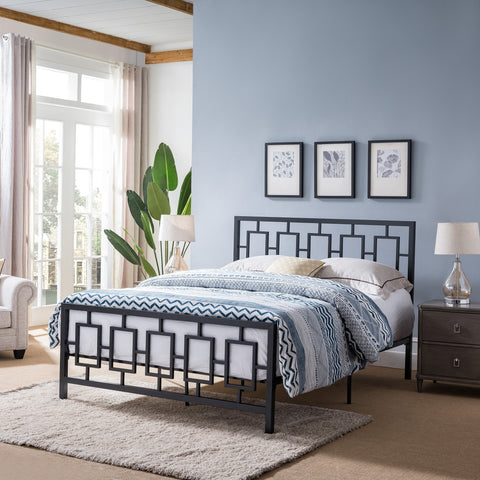 Queen-Size Geometric Platform Bed Frame, Iron, Modern, Low-Profile - NH285703