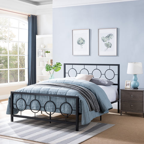 Queen-Size Geometric Platform Bed Frame, Iron, Modern,  Low-Profile - NH585703
