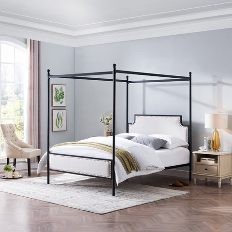 Queen Size Iron Canopy Bed Frame with Upholstered Studded Headboard - NH118803