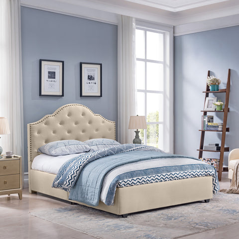 Button-Tufted Camelback Queen Bed Frame with Nailhead Trim - NH698603