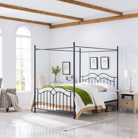 Traditional Iron Canopy Queen Bed Frame - NH003803